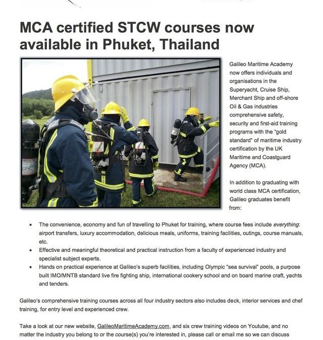 MCA Certified STCW Courses Now Available in Phuket, Thailand